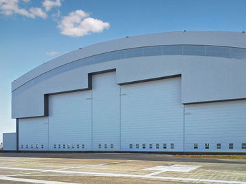 Prefab Curve Roofing System Steel Aircraft Hangars With Electrical Slide Doors